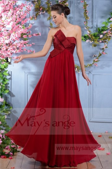 Red bridesmaid dress - L671 while raspberry maysange long dress - L671 #1