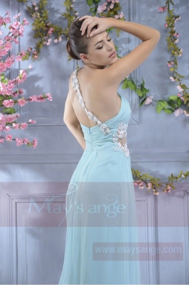 Long Cocktail Dress Light Blue Color With Single Floral Strap - L673 #1