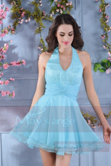 Robe cocktail vintage bleu clair - C572 #1