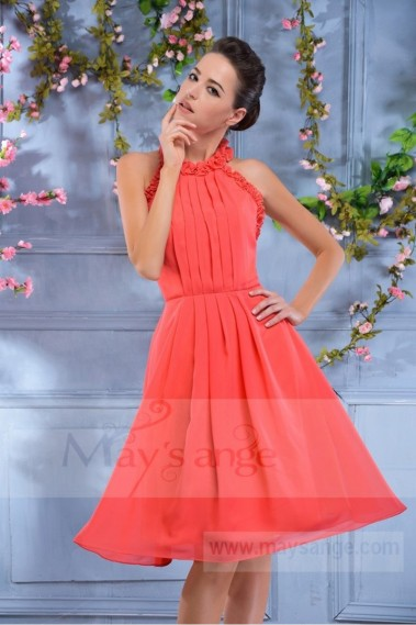C695 short evening dress backless coral C695 - C695 #1