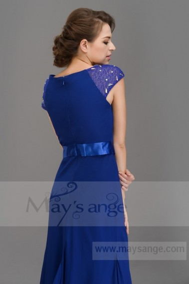 Long bridesmaid dress - L680 Nice robe soiree royal blue mermaid with two lace cuffs - L680 #1