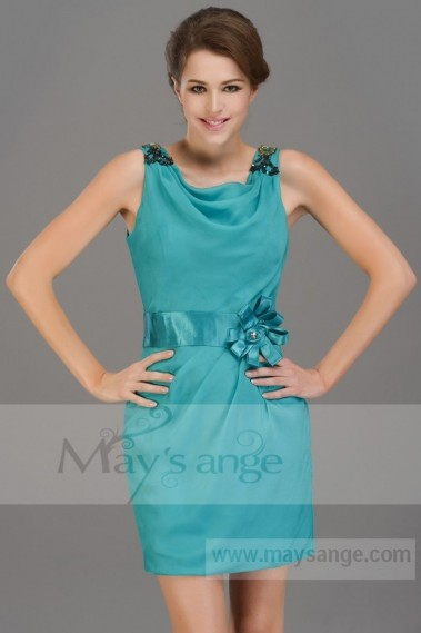 Robe de cocktail bretelle - Robe de cocktail  vert turquoise - C696 #1