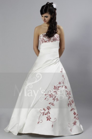 White wedding dress - A-Line Satin Wedding Dress With Red Embroidery - M025 #1