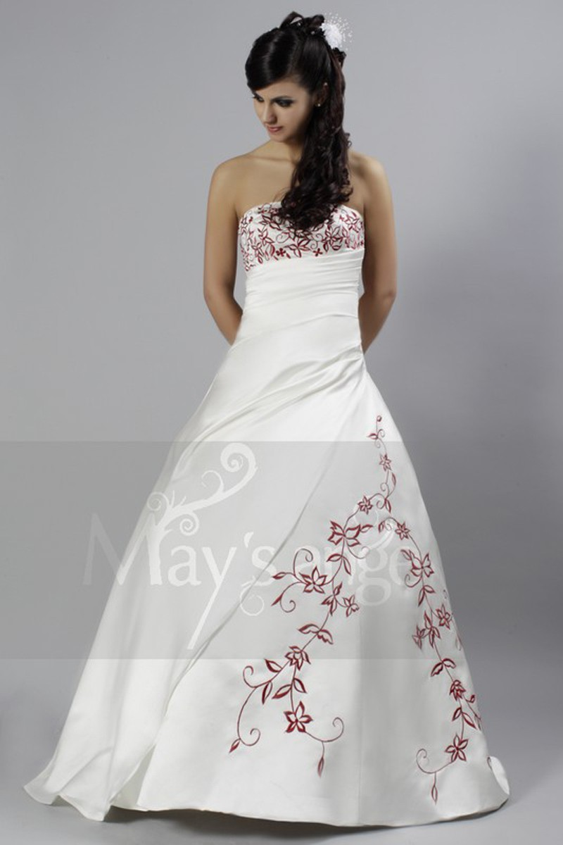 Bridal wedding dress emily with red flowers for Wedding dress with red flowers