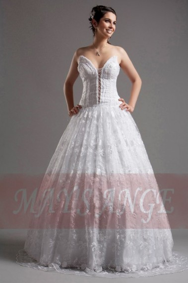 White wedding dress - Affordable Lace wedding dress Birdy - M026 #1