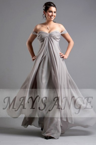 Fluid Evening Dress - Floor-Length Off-The-Shoulder Gray Plus-Size Cocktail Dress - L091 #1