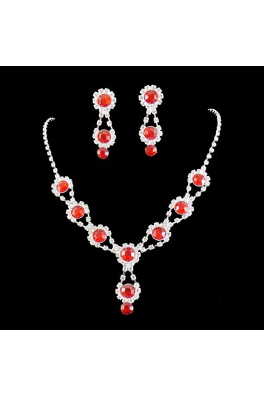 Red vintage necklaces and earrings set - E062 #1