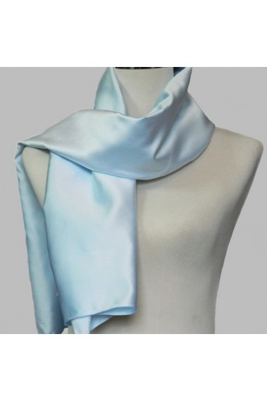 Fashion thick satin light blue scarf - ETOLE04 #1