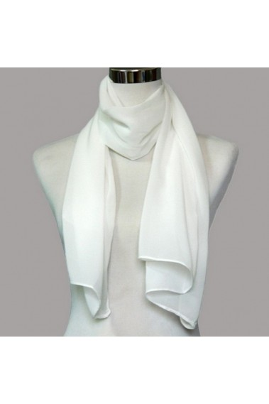 Cheap white chiffon wedding shawl wrap - ETOLE07 #1
