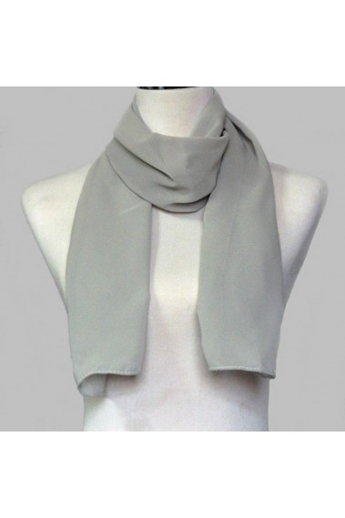 Pale grey chiffon evening scarf wrap - ETOLE10 #1