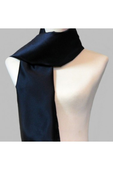 Blue black thick satin evening scarf - ETOLE25 #1