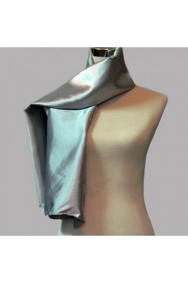 Cheap satin Grey silver evening scarf - ETOLE31 #1