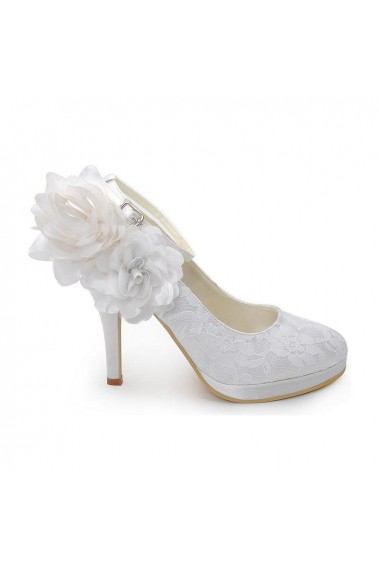Elegant Flower White Lace Wedding Shoes - CH044 #1