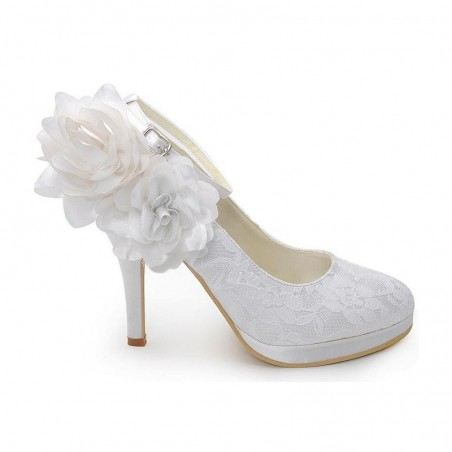 chaussures femme blanc pour mariage CH044 - Ref CH044 - 02