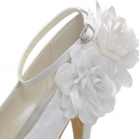 chaussures femme blanc pour mariage CH044 - Ref CH044 - 03