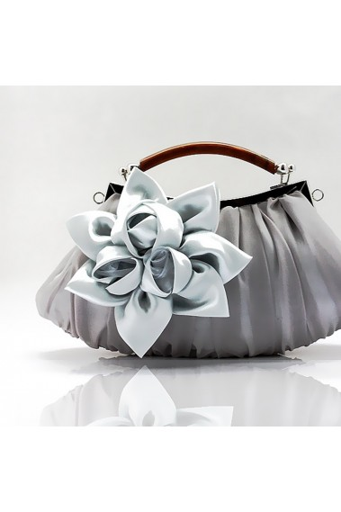 Satin flower silver clutch for wedding - SAC301 #1
