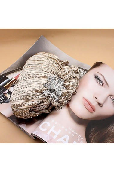 Golden clutch bag with sparkling flower - SAC333 #1