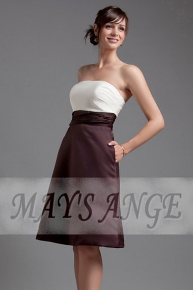 Elegant Evening Dress - Two-tone Short Evening Dress In Satin - C093 #1