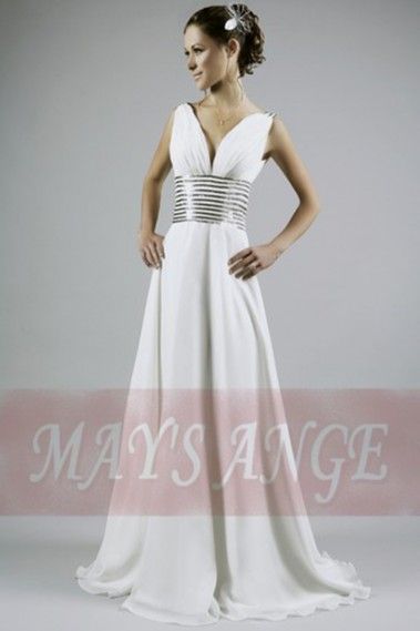 Evening Dress with straps - Classic White Ball Gown Cleopatra Queen With Rhinestones - L104 #1