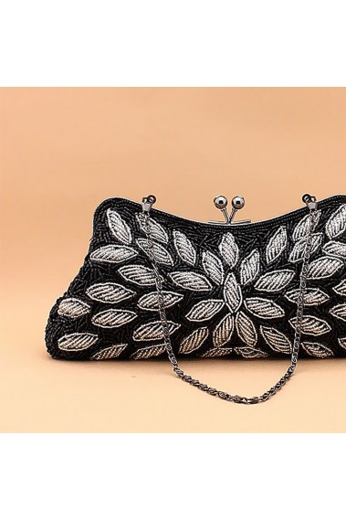 Black evening clutch with small strap - SAC374 #1