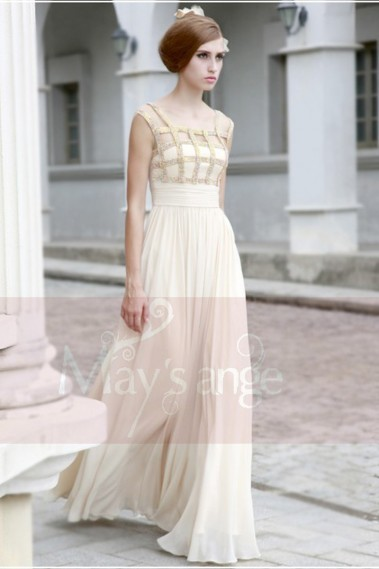 Evening Dress with straps - Elegant Ivory Long Evening Dress With Rhinestone Grid - L107 #1