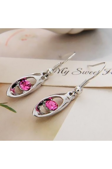 Anniversary gift pink stone earrings - B043 #1
