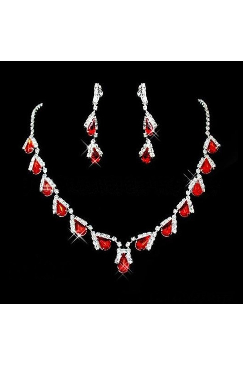 Red statement necklace and earrings set - Ref E083 - 01