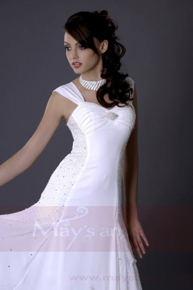 Long evening dress - Chic White Long Formal Dress For your Wedding Ceremony - L109 #1