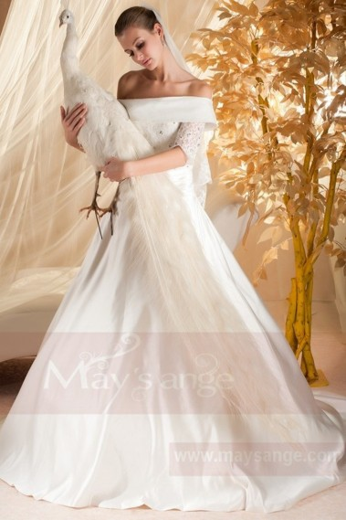 White wedding dress - A-Line Off-the-Shoulder Long Sleeves Vintage Boho Wedding Dresses - M334 #1