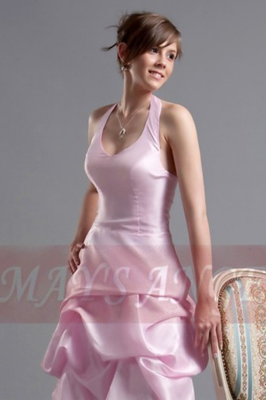 Robe de cocktail bretelle - robe de cocktail rose douceur en taffetas - C099 #1