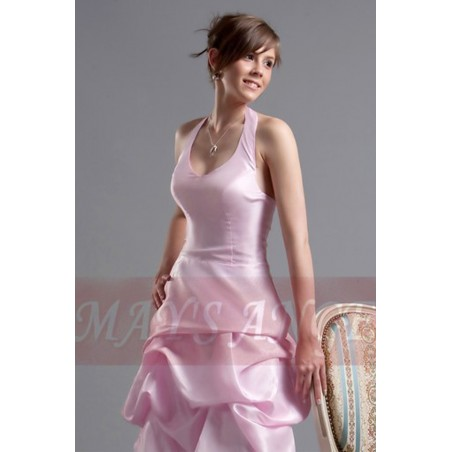 robe de cocktail rose douceur en taffetas - Ref C099 - 02