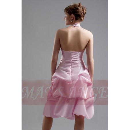 robe de cocktail rose douceur en taffetas - Ref C099 - 03