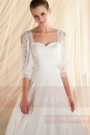 Sweetheart Neckline Lace Wedding Dress With Long Open Sleeve - M349 #1