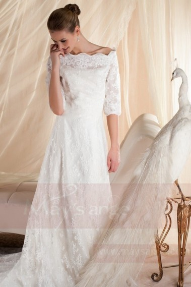 Long wedding dress - White bridal gown M353 - M353 #1