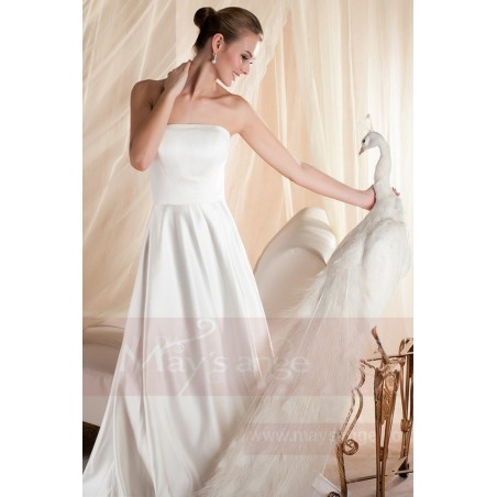 robe mariage bustier simple blanche en satin pas cher - Ref M354 - 02
