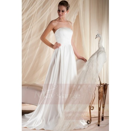 robe mariage bustier simple blanche en satin pas cher - Ref M354 - 03