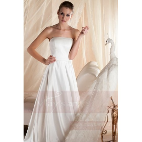robe mariage bustier simple blanche en satin pas cher - Ref M354 - 04