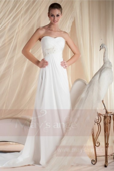 White wedding dress - A-Line Strapless Court Train Chiffon Wedding Dress With Pearls - M356 #1