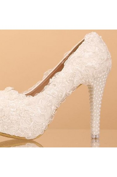 Lace Fashion White Beaded Wedding Shoes - CH055 #1