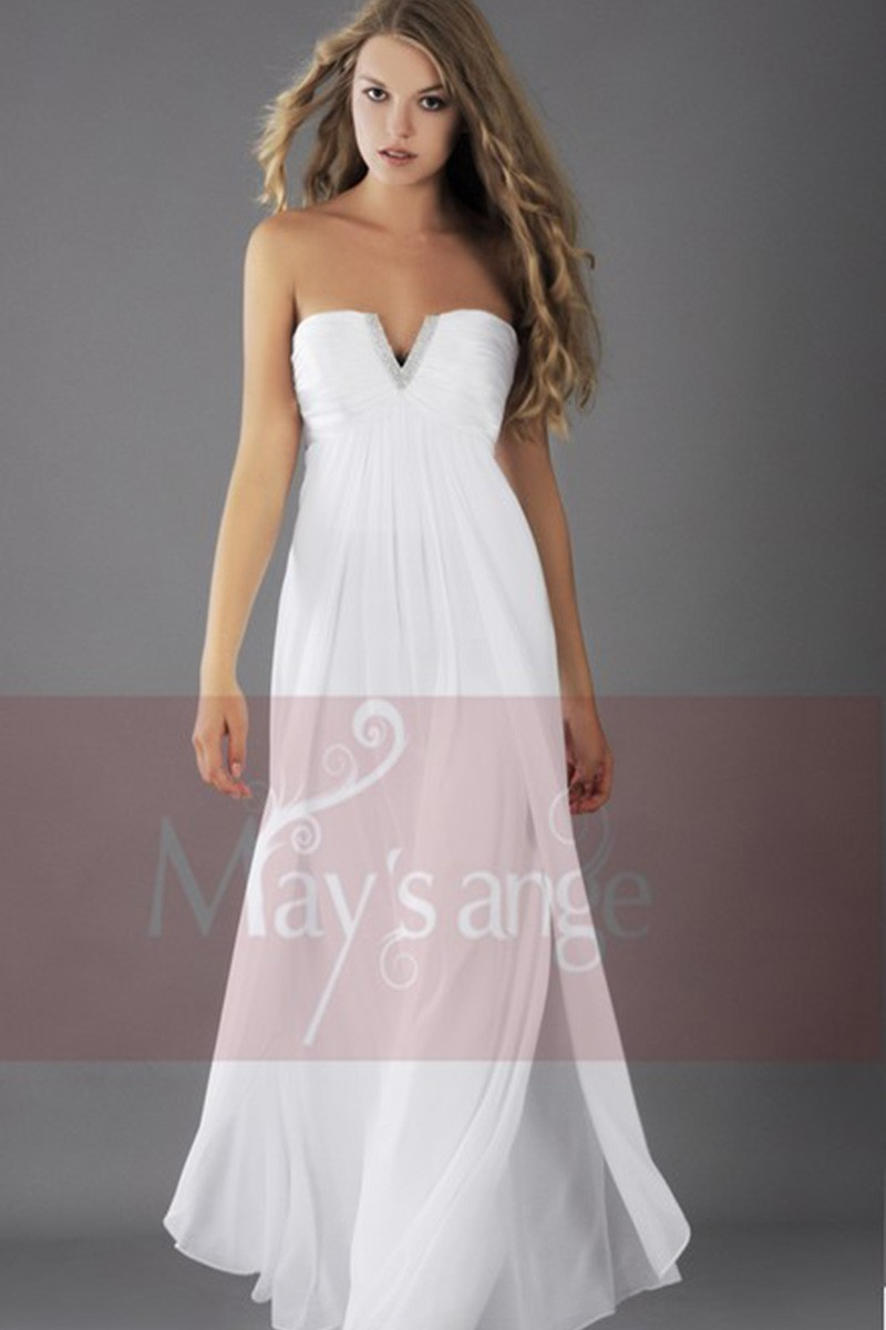 Strapless White Cocktail Dress In Chiffon Fabric With V Rhinestones - Ref L113 - 01