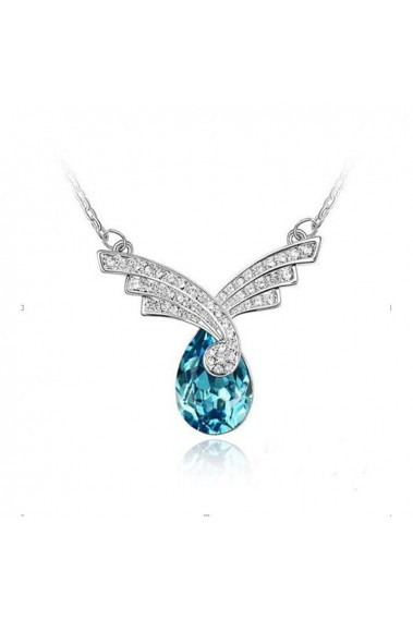 Stone blue topaz necklace silver chain - F003 #1