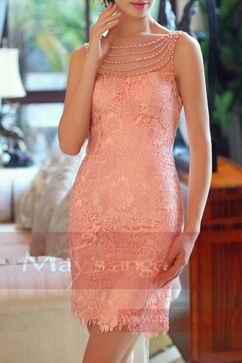 Robe de cocktail rose dos nu en dentelle et perles - Ref C746 - 01