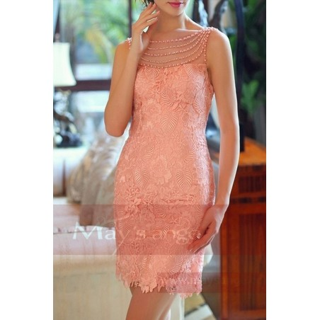 Robe de cocktail rose dos nu en dentelle et perles - Ref C746 - 02