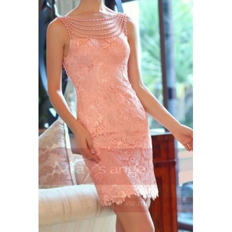 Robe de cocktail rose dos nu en dentelle et perles - Ref C746 - 04