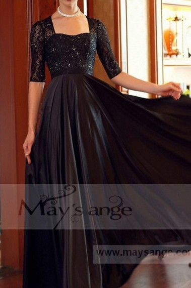 Long Sleeve Black Satin Formal Dresses With Shiny Lace Top - L694 #1
