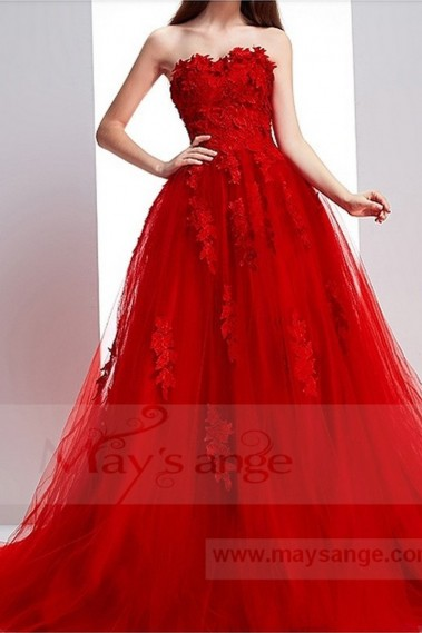 Red evening dress - Robe de bal p071 - P071 #1