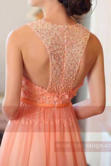LONG ORANGE DRESS WITH EMBROIDERED TOP - L704 #1