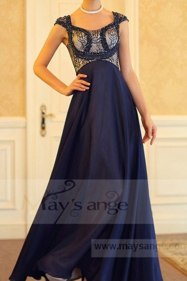Blue evening dress - LONG FORMAL DRESS FOR MOTHER OF THE BRIDE - L705 #1