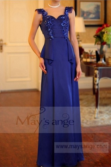 Blue evening dress - Classic Dress For A Wedding Witness Gemstone Blue - L708 #1