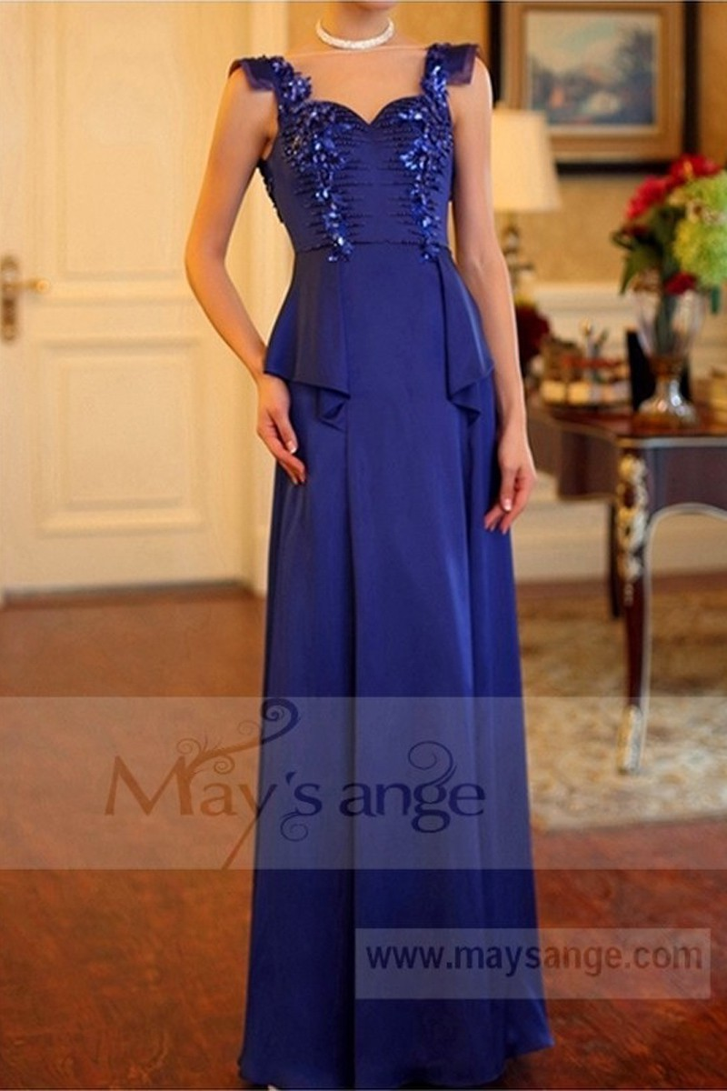 Classic Dress For A Wedding Witness Gemstone Blue - Ref L708 - 01